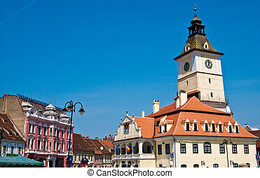 Council Square in Brasov Romania - Old center of Brasov city...