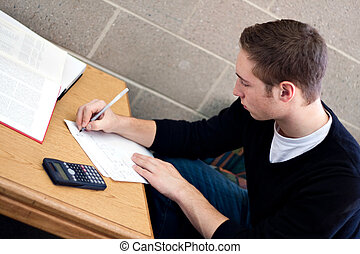 Student Doing Homework - A young high school or college...