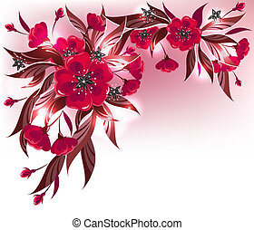 Red flower composition - Decorative floral background with...
