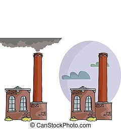 Brick Power Plant - Cartoon of a small power plant or...