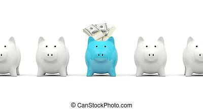Piggy bank with cash isolated on white