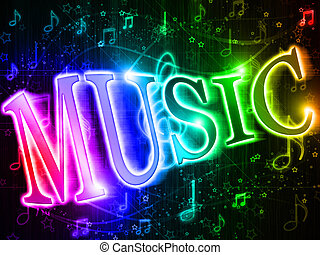 Colorful word music on rainbow background of music and...