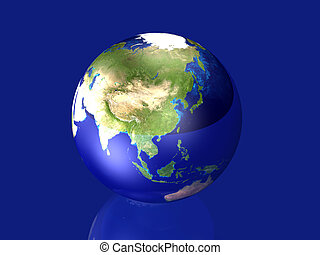 Glowing Globe - Asia - 3D rendered Illustration. Texture...