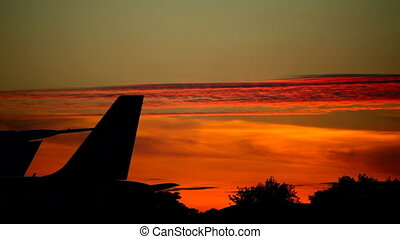 Sunset at the airport - Dramatic red sunset at the...