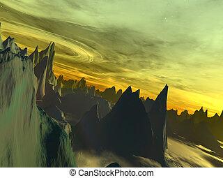 Alien World - Halton - 3d rendered illustration