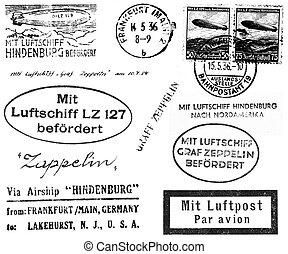 zeppelin, relacionado, matasellos