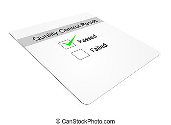 Quality Control - Quality control tick-box with passed...
