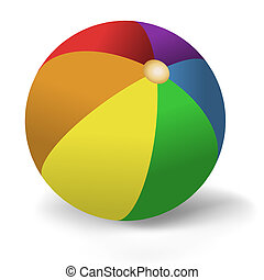Beach Ball - Illustration of brightly colored beach ball on...