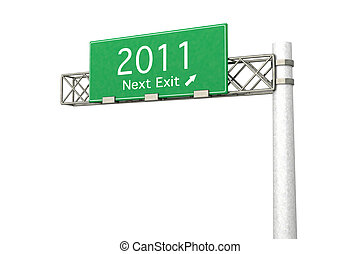 Highway Sign - Next Exit 2011 - 3D rendered Illustration....
