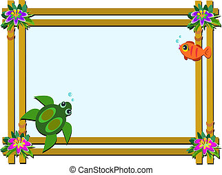 Wooden Frame with Flowers, Turtle,