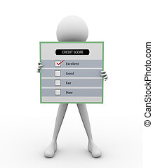 3D man with Questionnaire