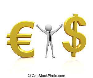 3d man with dollar and Euro - 3d man with golden Dollar and...