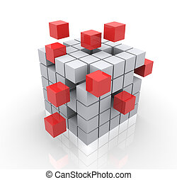 3d cubes - Concept of construction