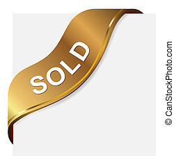 Sold Label - Golden tag label for sold item