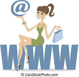 girl sitting on the large letters - beautiful girl with a...