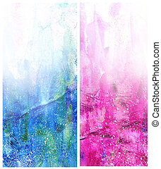 Beautiful watercolor background in soft white, blue and magenta