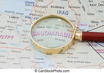 Saudi Arabia - Map of Saudi Arabia with magnifying glass