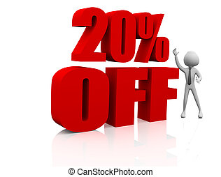 Sale promotion text 20 percent off - 3D rendering of a 20...