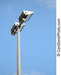Floodlight - Single dual-headed floodlight on post