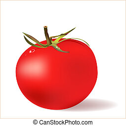 red tomato  with water drops