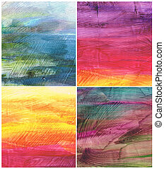 Beautiful watercolor background in soft purple, blue and orange