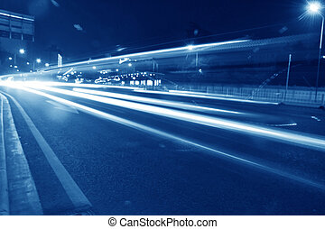 High speed car light trail at night in Guangzhou city