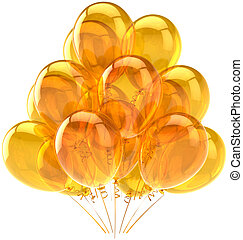 Party balloons yellow translucent