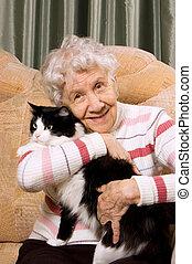 el, abuela, gato, sofá