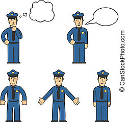 Police character set 04 - set of policeman in different...