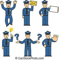 Police character set 05 - set of policeman in different...