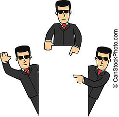 Bodyguard character set 01 - set of cartoon bodyguard in...