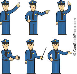 Police character set 03 - set of policeman in different...
