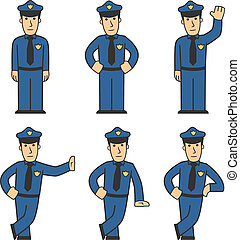Police character set 01 - set of policeman in different...