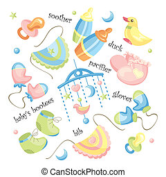 vector set of baby clothing and accessories