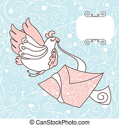 cute bird with a letter