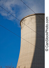 cooling tower - cooling tower from a coal-burning power...