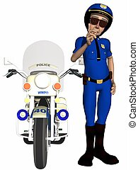 Toon Police Officer  - 3D Render of a Toon Police Officer