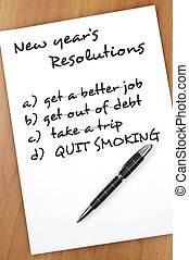 New year resolutions - New year resolution with Quit smoking...