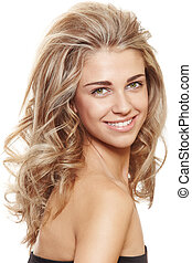 happy natural blond woman - beautiful natural make-up woman...