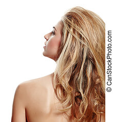 profile of blond woman with long hair