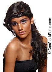 bronzeado, mulher, cacheados, cabelo