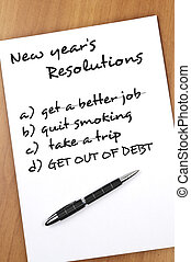 New year resolutions - New year resolution with Get out of...