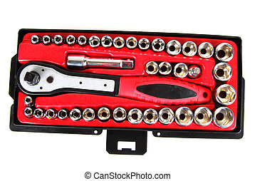 Socket set - Various sizes of sockets and handles in a...