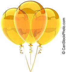 Yellow translucent balloons - Three party balloons yellow...