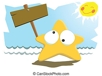 Starfish and The Sun - A cute starfish bringing a wooden...