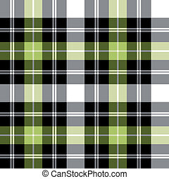 Tartan plaid vector pattern - Black, grey and green...