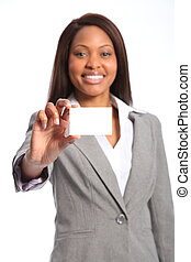 Smiling woman with business card - Smiling young beautiful...