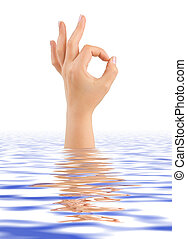 Hand ok in water isolated on white background