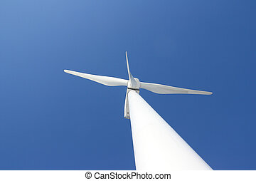 Windmill against blue sky - View of single windmill...