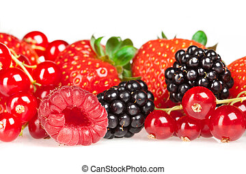 berrys - Different fresh berries on a white background